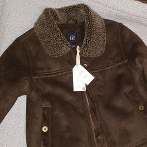 NWT Baby Gap faux suede/shearling coat